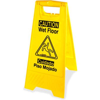 Genuine Joe Graphic Two Sided Wet Floor Sign, English/Spanish, Yellow - GJO85117