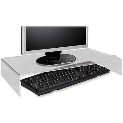 Kantek AMS300 Acrylic Monitor Stand/Keyboard Storage, Clear