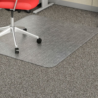 """Lorell® Economy Office Chair Mat for Carpet - 60""""L x 46""""W, 95 mil Thick - Beveled - Clear"""