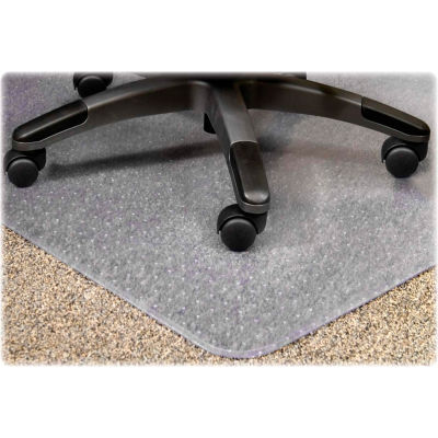 """Lorell® Office Chair Mat for Carpet - 60""""L x 46""""W, 0.13"""" Thick with 12"""" x 25"""" Lip - Beveled"""