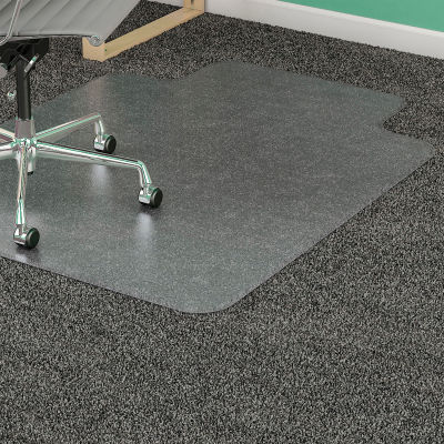"""Lorell® Office Chair Mat for Carpet - 48""""L x 36""""W, 0.13"""" Thick with 10"""" x 19"""" Lip - Beveled"""