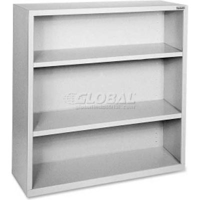 "Lorell Fortress Series 3-Shelf Bookcase, LLR41283, 13""W x 34-1/2""D x 42""H, Light Gray"