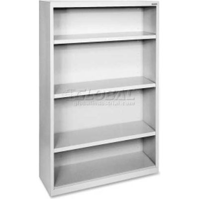 "Lorell Fortress Series 4-Shelf Bookcase, LLR41286, 13""W x 34-1/2""D x 60""H, Light Gray"