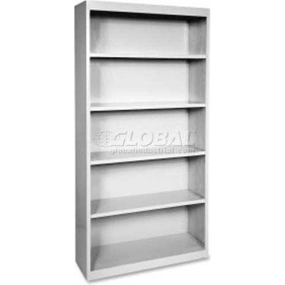 "Lorell Fortress Series 5-Shelf Bookcase, LLR41289, 13""W x 34-1/2""D x 72""H, Light Gray"
