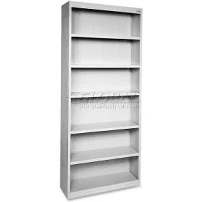 "Lorell Fortress Series 6-Shelf Bookcase, LLR41292, 13""W x 34-1/2""D x 82""H, Light Gray"