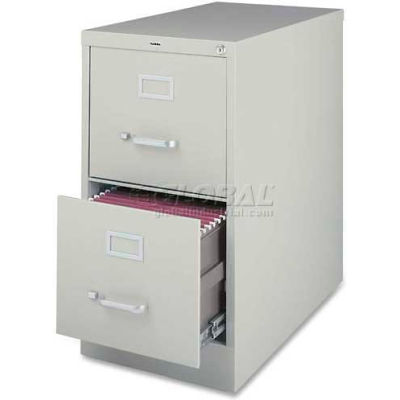 """Lorell® 2-Drawer Commercial-Grade Vertical File Cabinet, 15""""W x 22""""D x 28""""H, Gray"""