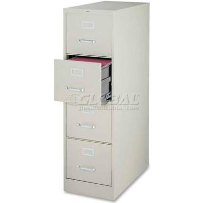"""Lorell® 4-Drawer Commercial-Grade Vertical File Cabinet, 15""""W x 22""""D x 52""""H, Gray"""