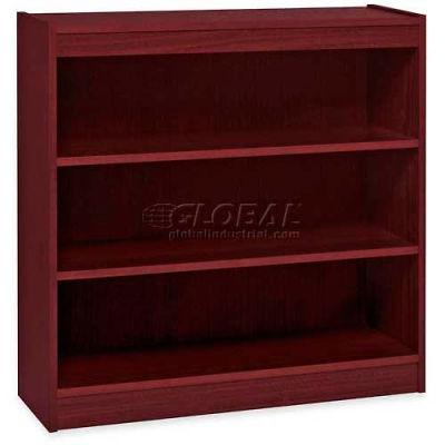 "Lorell® 3-Shelf Panel End Hardwood Veneer Bookcase, 36""W x 12""D x 36""H, Mahogany"