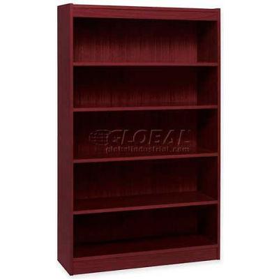 "Lorell® 5-Shelf Panel End Hardwood Veneer Bookcase, 36""W x 12""D x 60""H, Mahogany"
