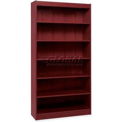 "Lorell® 7-Shelf Panel End Hardwood Veneer Bookcase, 36""W x 12""D x 84""H, Mahogany"
