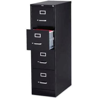 "Lorell® 4-Drawer Heavy Duty Vertical File Cabinet, 15""W x 26-1/2""D x 52""H, Black"