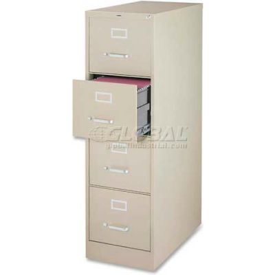 """Lorell® 4-Drawer Heavy Duty Vertical File Cabinet, 18""""W x 26-1/2""""D x 52""""H, Putty"""