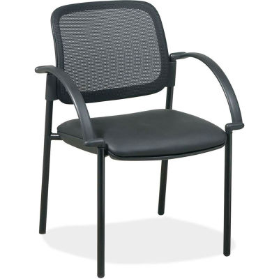 """Lorell® Mesh Guest Chair, 24""""W x 23-1/2""""D x 32-3/4""""H, Black Leather Seat"""