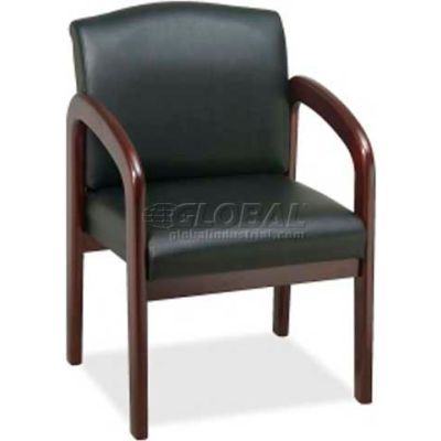 """Lorell® Deluxe Faux Leather Guest Chair, 23""""W x 25-1/2""""D x 33-1/2""""H, Black/Mahogany"""