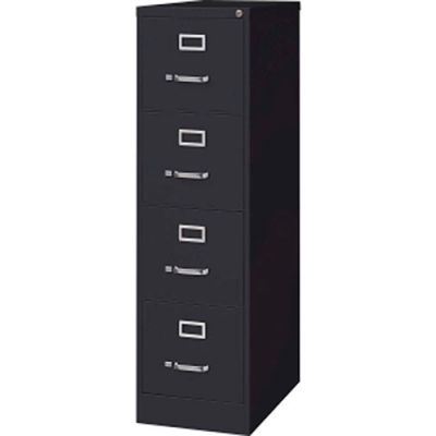 "Lorell® 4-Drawer Heavy Duty Vertical File Cabinet, 15""W x 25""D x 52""H, Black"