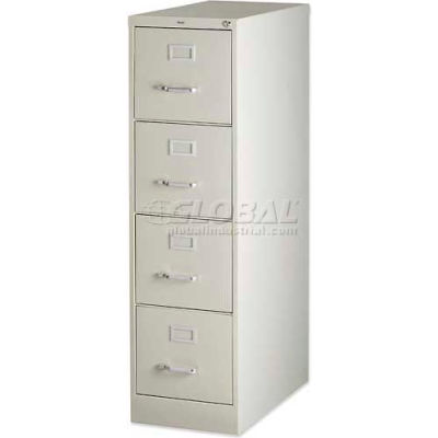 """Lorell® 4-Drawer Heavy Duty Vertical File Cabinet, 15""""W x 25""""D x 52""""H, Putty"""