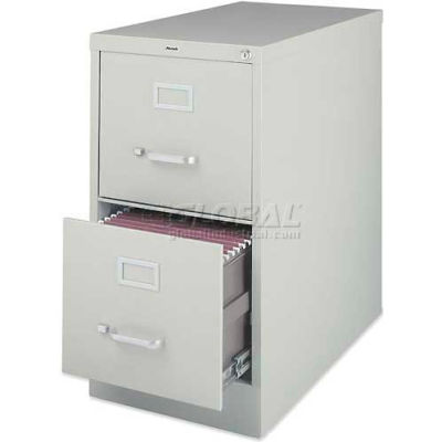 """Lorell® 2-Drawer Heavy Duty Vertical File Cabinet, 15""""W x 25""""D x 28-3/8""""H, Gray"""