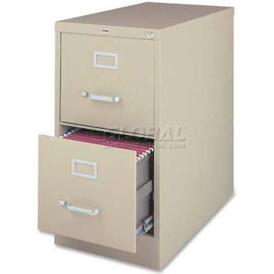 """Lorell® 2-Drawer Heavy Duty Vertical File Cabinet, 18""""W x 26-1/2""""D x 28-3/8""""H, Putty"""