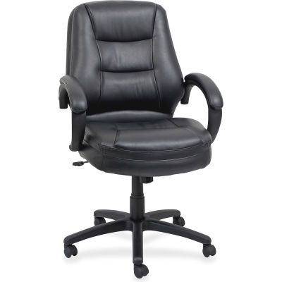 """Lorell® Westlake Managerial Leather Mid-Back Chair, 26-1/2""""W x 28-1/2""""D x 43""""H, Black"""