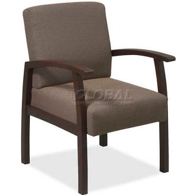 """Lorell® Deluxe Fabric Guest Chair, 24""""W x 25""""D x 35-1/2""""H, Expresso Frame/Taupe Seat"""