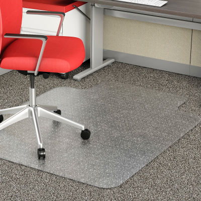 """Lorell® Office Chair Mat for Carpet - 60""""L x 46""""W 0.12"""" Thick with 12"""" x 25"""" Lip - Beveled Edge"""