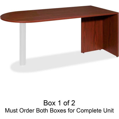 """Lorell® Peninsula Desk Without Post - 66""""W x 30""""D x 29-1/2""""H - Mahogany - Essentials Series"""