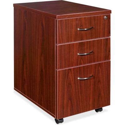"Lorell® Mobile Pedestal - 16""W x 22""D x 28-1/4""H - Mahogany - Essentials Series"