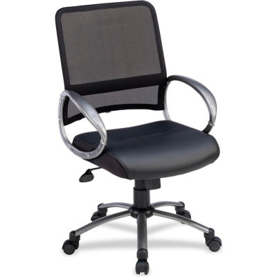 """Lorell® Mid-Back Task Chair, 25""""W x 25""""D x 42""""H, Black Leather Seat/Mesh Back"""