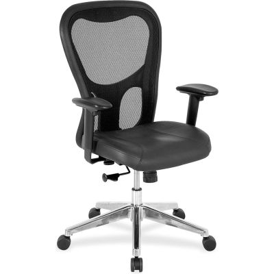 """Lorell® Mid-Back Executive Chair, 25""""W x 23-5/8""""D x 44""""H, Black Leather Seat/Mesh Back"""