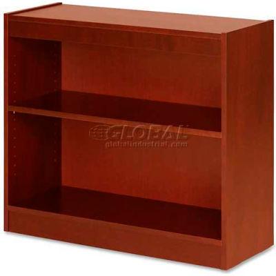 "Lorell® 2-Shelf Panel End Hardwood Veneer Bookcase, 36""W x 12""D x 30""H, Cherry"