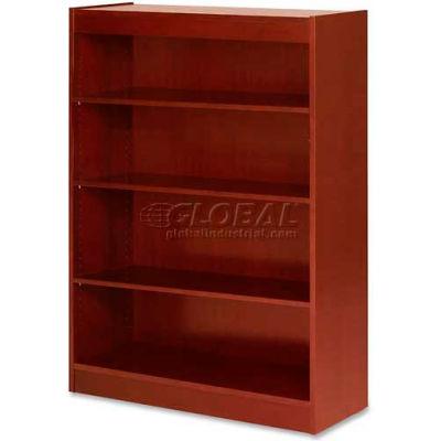 "Lorell® 4-Shelf Panel End Hardwood Veneer Bookcase, 36""W x 12""D x 48""H, Cherry"