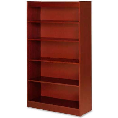 "Lorell® 5-Shelf Panel End Hardwood Veneer Bookcase, 36""W x 12""D x 60""H, Cherry"