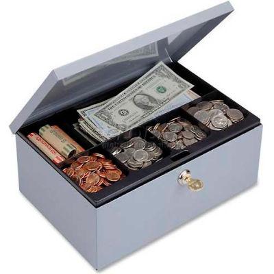 MMF SteelMaster Steel Cash Box Security Lock 22161820 6-Compartment 11-5/16 x 8-3/16 x 5, Gray