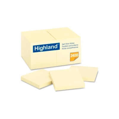 "3M™ Self-Sticking Notes, 3""x3"", 100 Sheets/Pad, 24 Pads/Pk, Yellow"