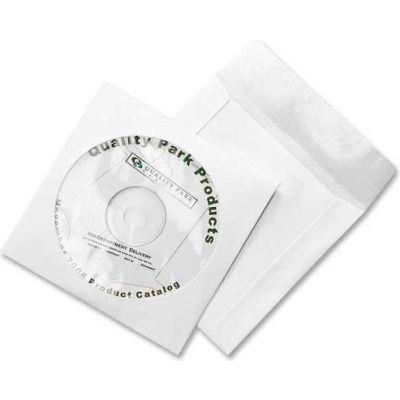 "Quality Park® CD/DVD Sleeves, 77203, Moisture/Tear Resistant, 4-7/8"" X 5"", 100/Pk, White"
