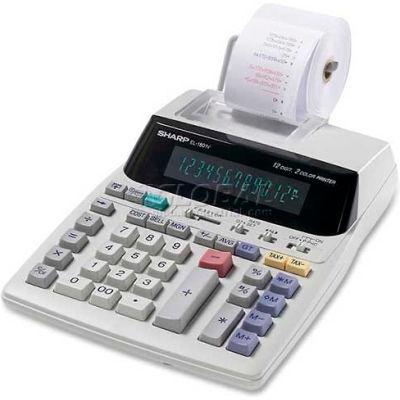 """Sharp® 12-Digit Calculator, EL1801V, 2 Color Printing, 7-1/2"""" X 10-1/4"""" X 2-1/2"""", Grey"""