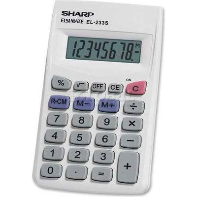 "Sharp® 8-Digit Pocket Calculator, EL233SB, 2-1/4"" X 3-3/4"" X 1/2"", Grey/White"