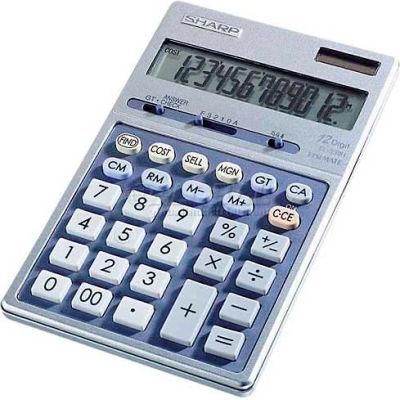 "Sharp® 12-Digit Calculator, EL339HB, Dual Power, 4-Key Memory, 4-1/3"" X 7"" X 3/4"""