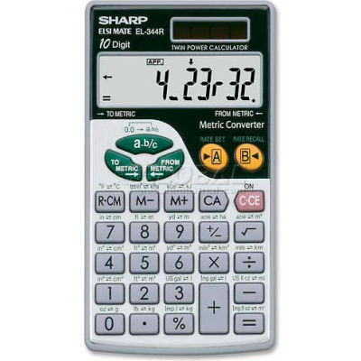 """Sharp® 10-Digit Scientific Calculator, EL344RB, W/Wallet, 2-3/4"""" X 4-7/8"""" X 1/4"""", Silver"""