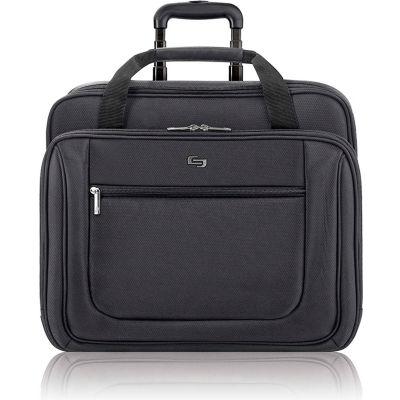 """Solo® Rolling Laptop Portfolio, PT1364, 16.8""""W x 5""""D x 14""""H, Polyester, Black"""