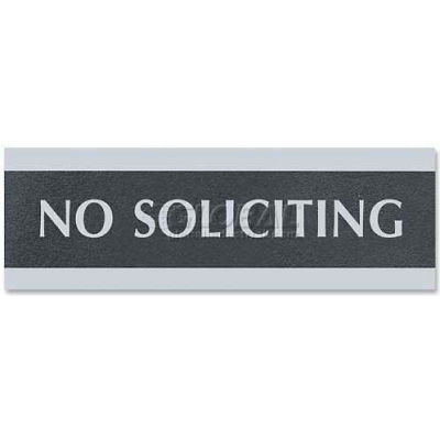 """U.S. Stamp & Sign Century Sign, 4758, NO SOLICITING, 9""""W X 3""""H, Black/Silver"""