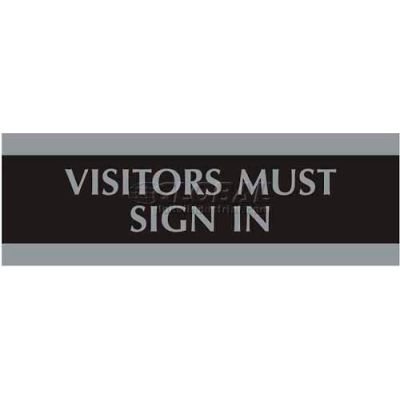 """U.S. Stamp & Sign Century Sign, 4763, VISITORS MUST SIGN IN, 9""""W X 3""""H, Black/Silver"""