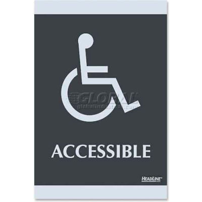 """U.S. Stamp & Sign ADA Sign, 4764, ACCESSIBLE, Adhesive, 6""""W X 9""""H, Black/Silver"""