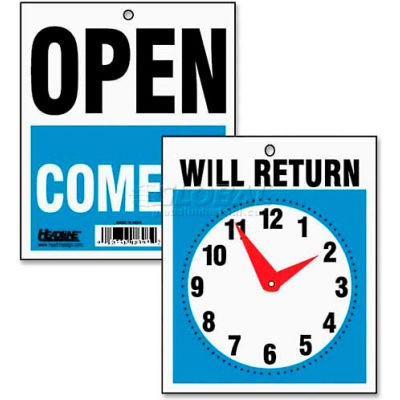 """U.S. Stamp & Sign Sign, 9382, """"Will Return"""" W/Clock Face, """"Open Come In"""", 7-1/2"""" X 9"""""""