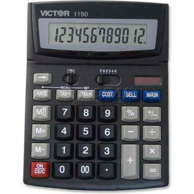 "Victor® 12-Digit Desktop Calculator, 1190, W/Cost/Margin, 6"" X 7-3/4"" X 1-1/4"", Black"
