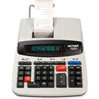 "Victor® 12-Digit Calculator, 1297, 2 Color Heavy Duty Print, 8"" X 11"" X 3"", White"