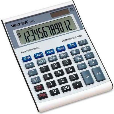 """Victor® 12-Digit Desktop Calculator, 6500, W/Loan Wizard, 5-3/4"""" X 7-7/8"""" X 1-3/4"""", Silver"""