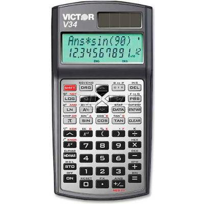 "Victor® 10-Digit Scientific Calculator, V34, Dual Power, 3-1/4"" X 6-1/4"" X 3/4"", Black"