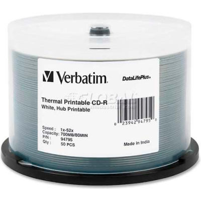 Verbatim® CD-R Discs, 94795, 52X, 700MB/80Min, Thermal Printable, Spindle, 50/Pk, White