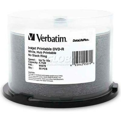 Verbatim® DVD-R, 95079, 16X Speed, 4.7GB, Inkjet/Hub Printable, 50/Pk, White